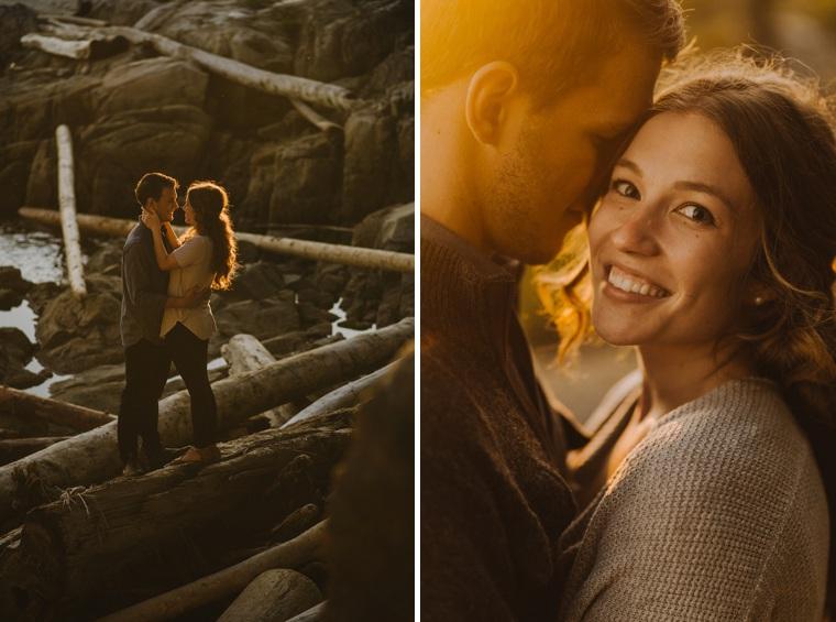 romantic sunset engagement portraits in vancouver
