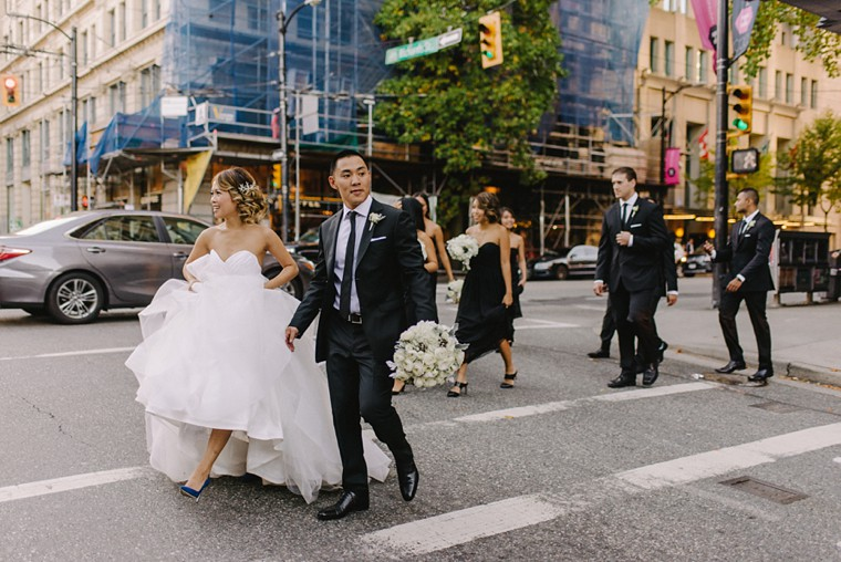 classy black and white wedding party in vancouver
