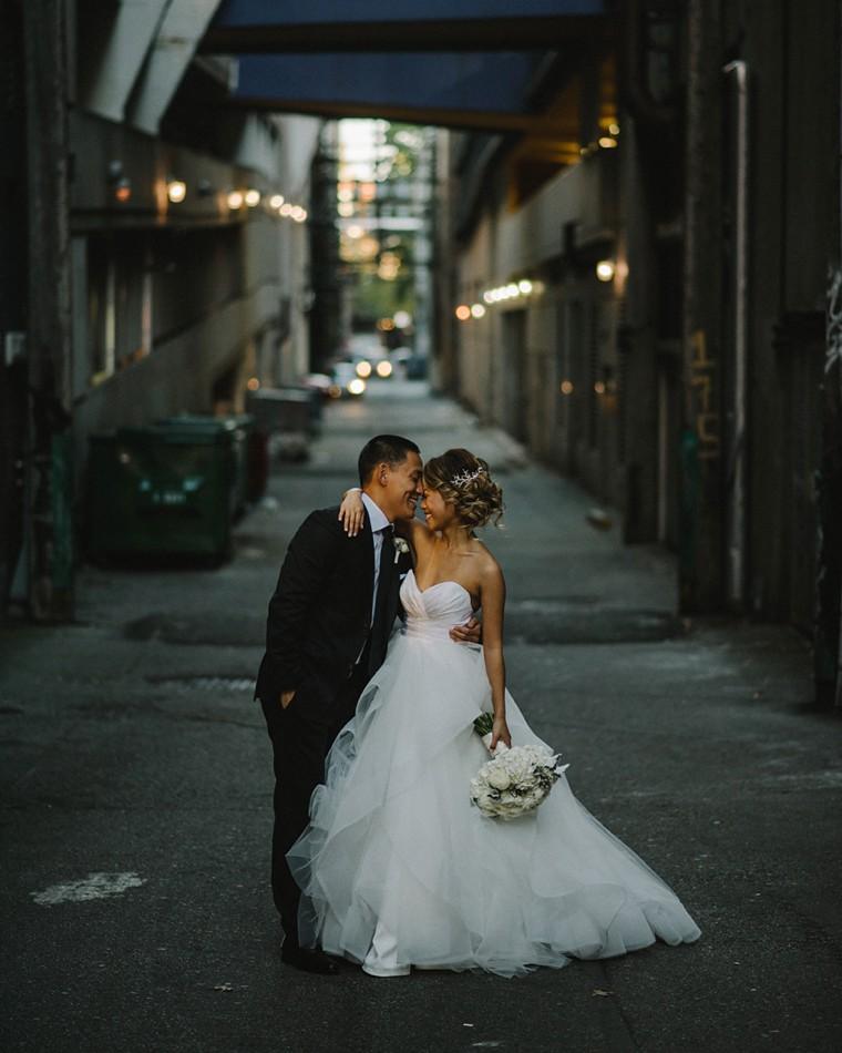 unique downtown vancouver wedding portrait