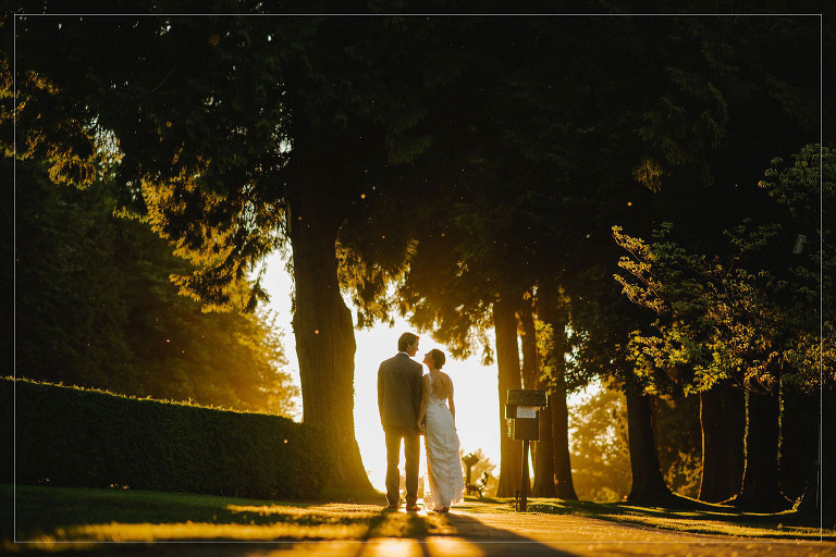 sunset wedding portrait at vancouver golf course
