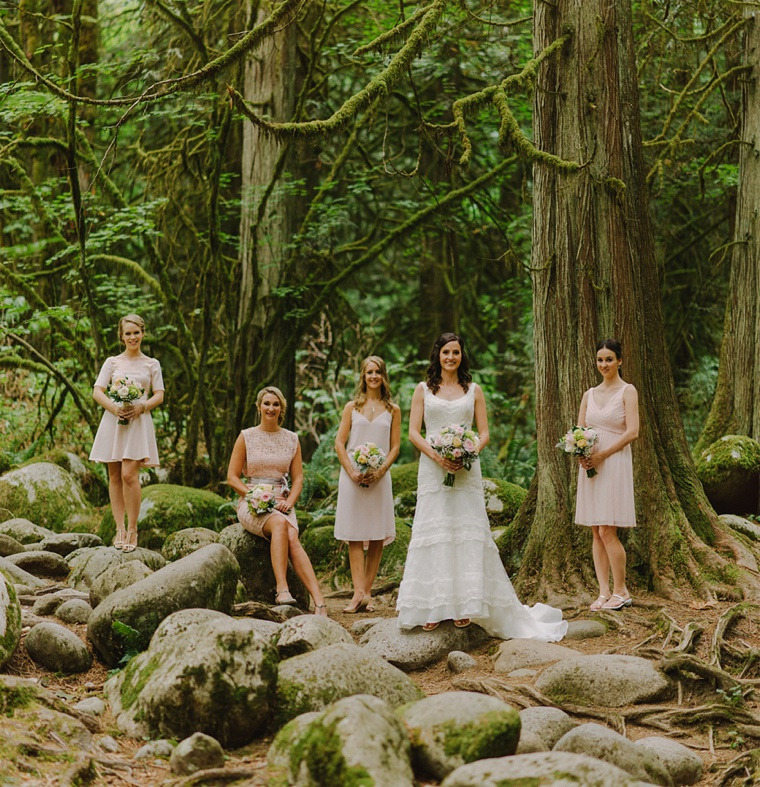 bridesmaids in vancouver forest