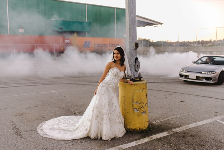 portrait of bride with car drifting