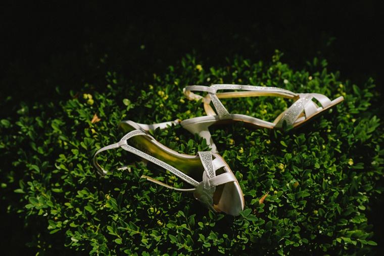 Unique photo of white wedding shoes