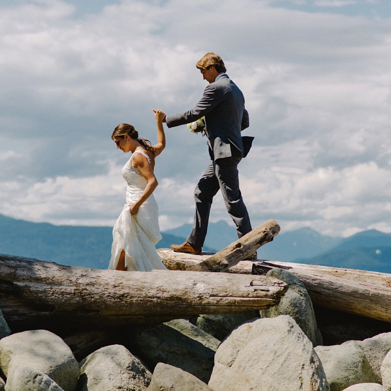 candid wedding photo taken at jericho beach in vancouver