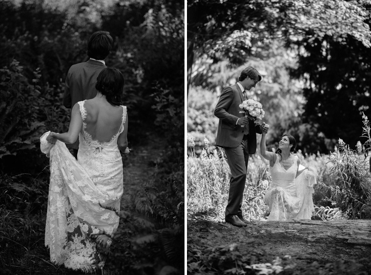 Black and white wedding portrait in Vancouver