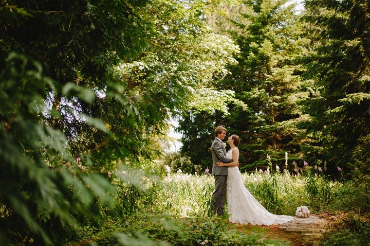 Wedding portrait in forest near UBC