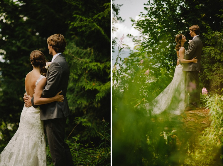 Wedding portrait at forest in UBC