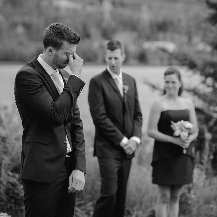 emotional groom before wedding