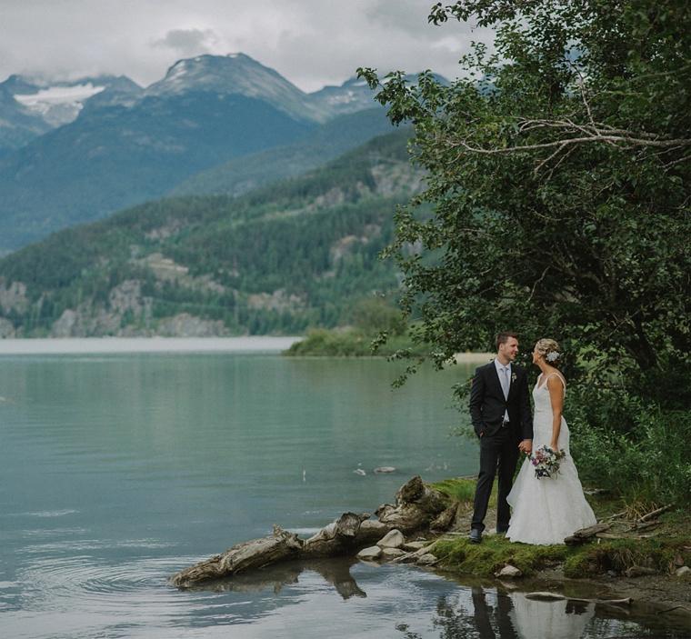 Whistler lake wedding portrait