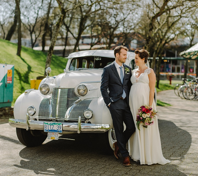 vancouver wedding portrait with classic car