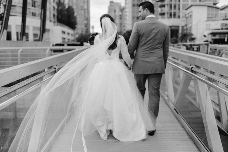 vancouver marina wedding portrait