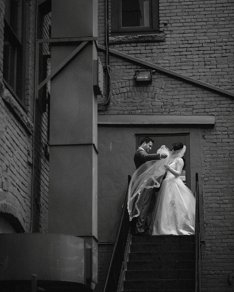 wedding portrait in vancouver alley