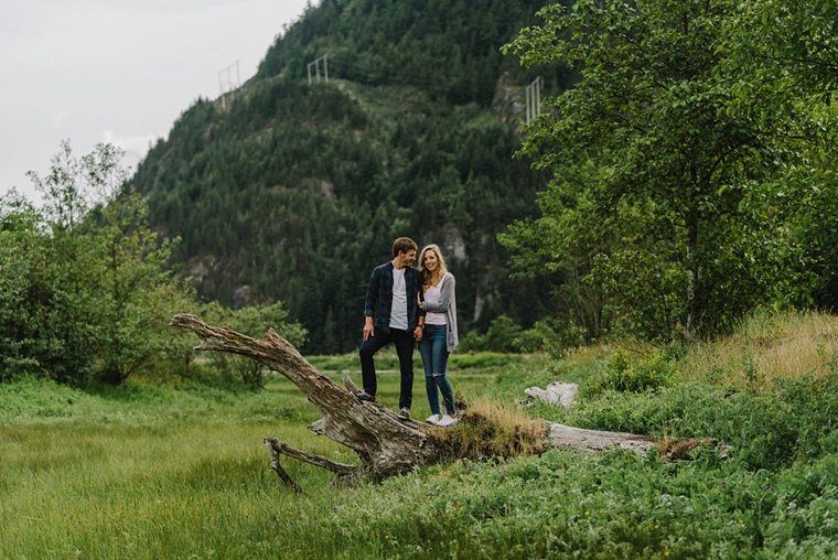 engagement portrait at the spit in squamish
