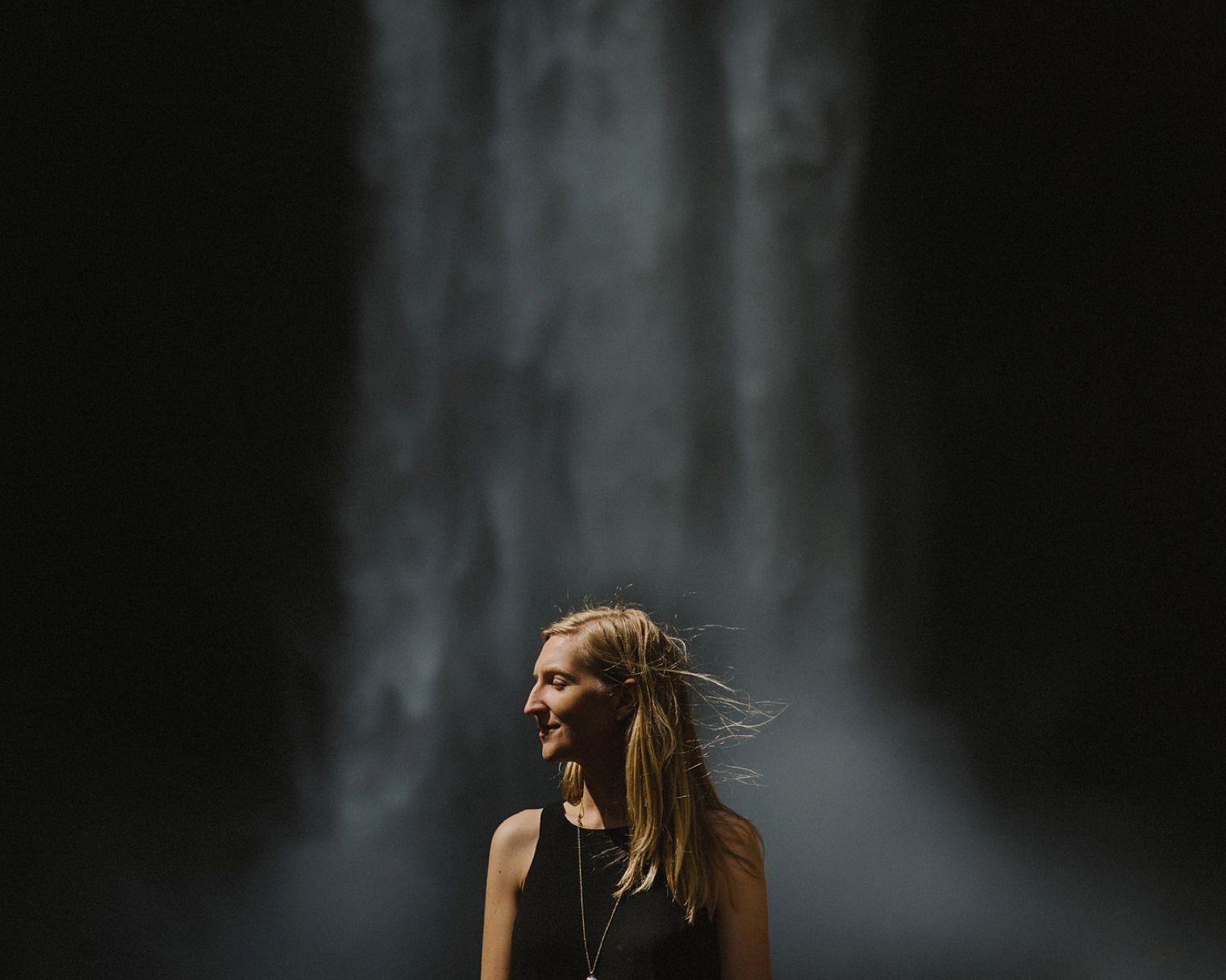 unique waterfall portrait