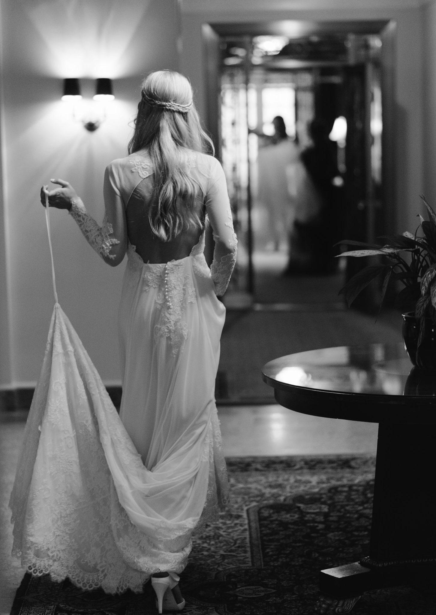 bride walking through hotel vancouver