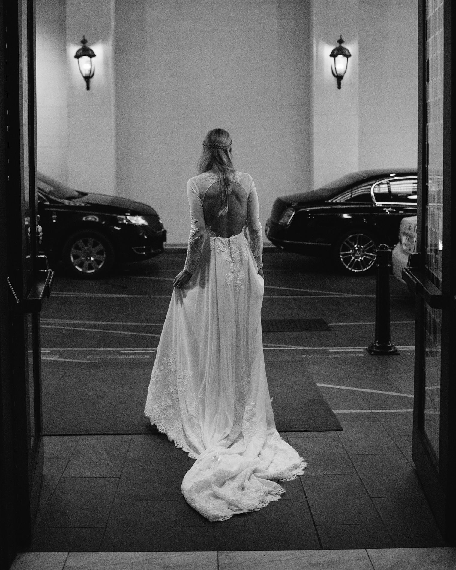 bride waiting for limo at hotel vancouver
