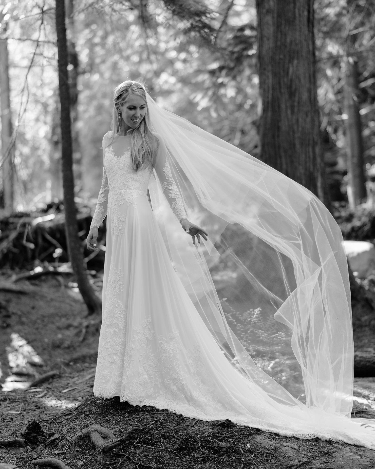 black and white wedding portrait of bride in forest