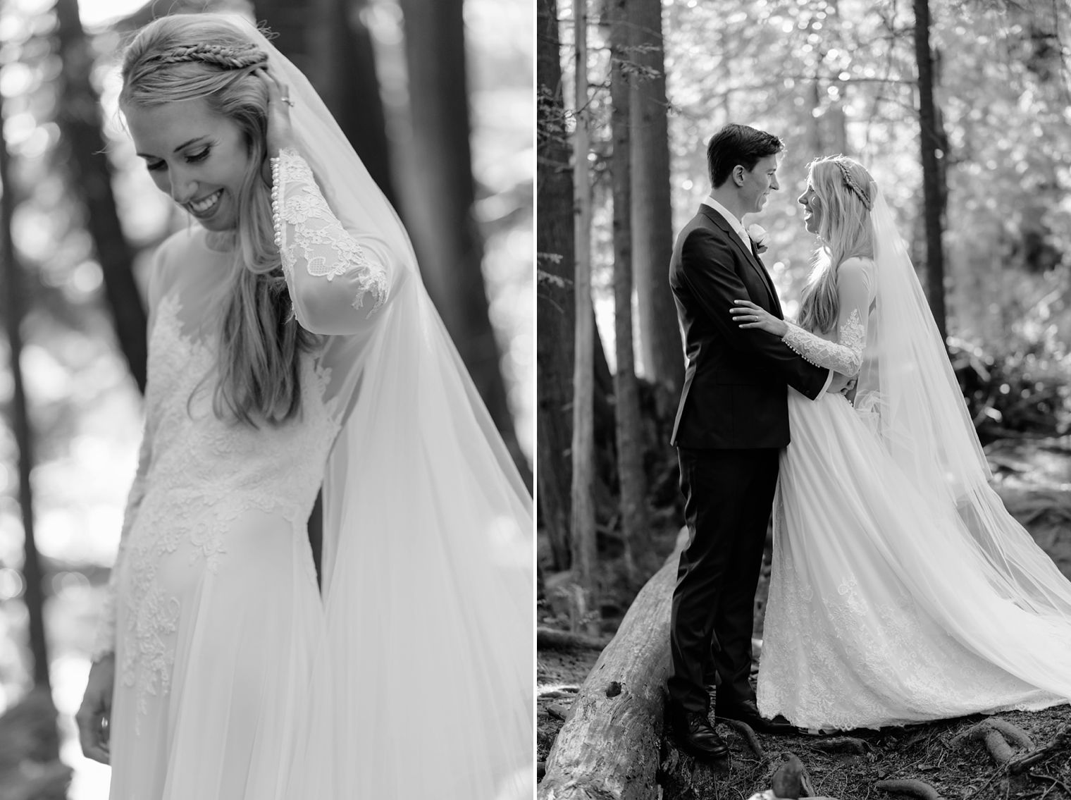 black and white wedding portait in forest