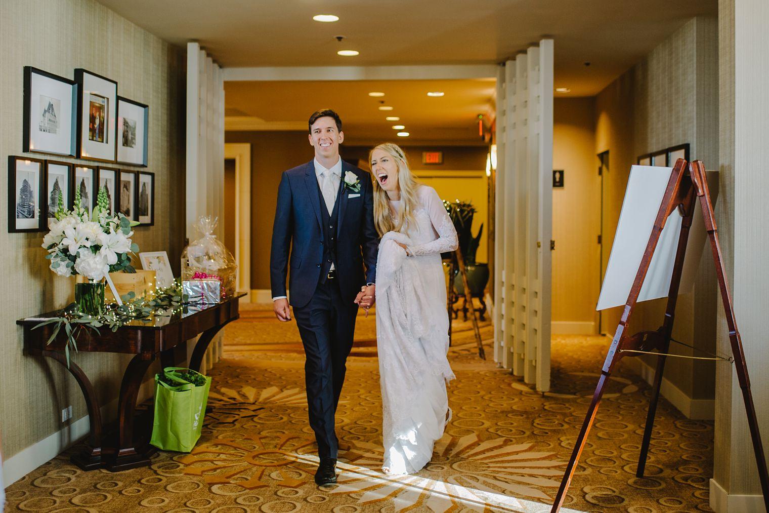 wedding entrance at fairmont hotel vancouver