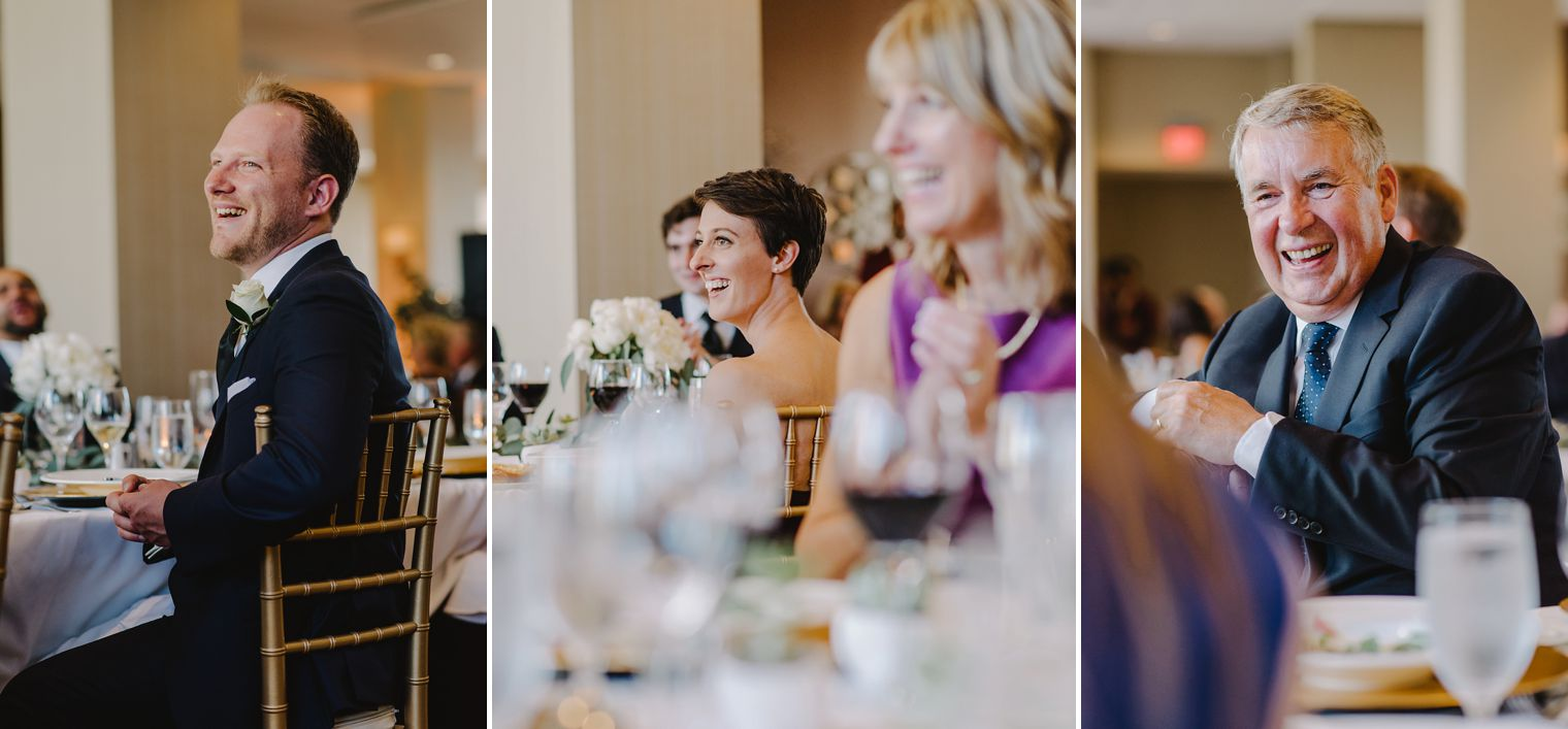 candid wedding guests reactions
