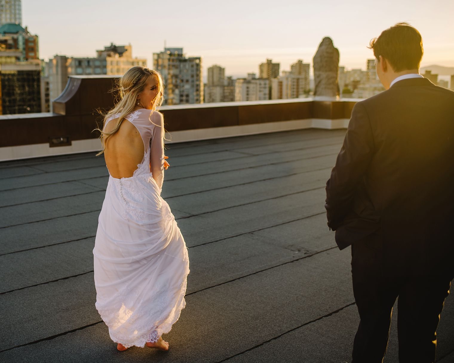 wedding portrait on roof of hotel vancouver