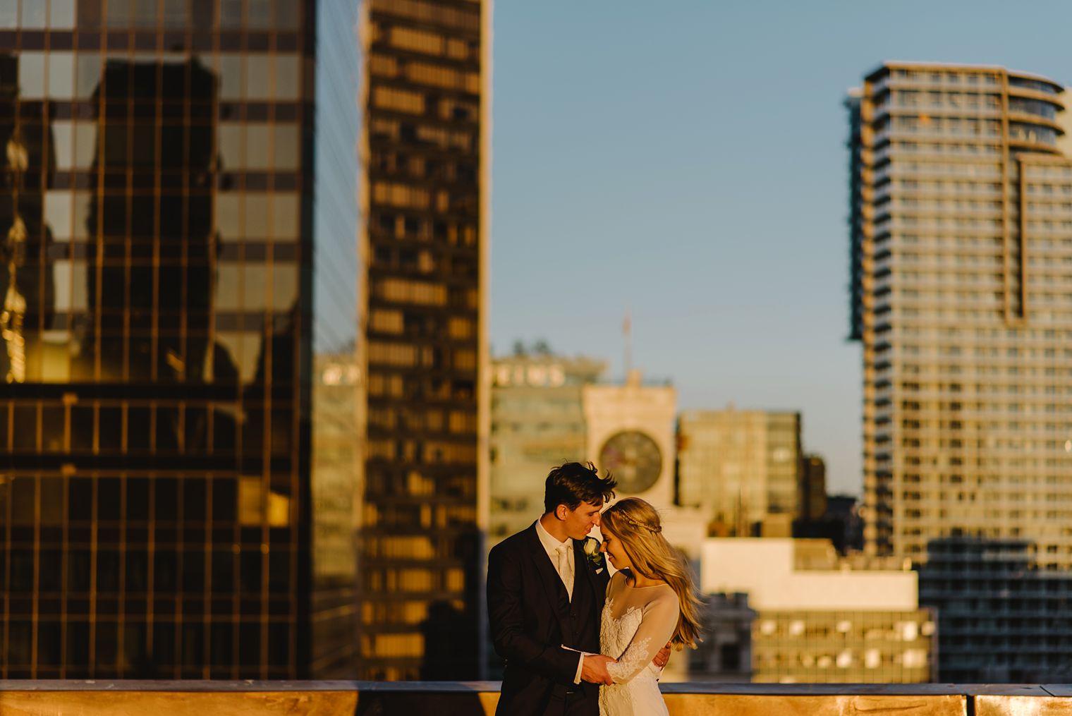 vancouver rooftop wedding portrait