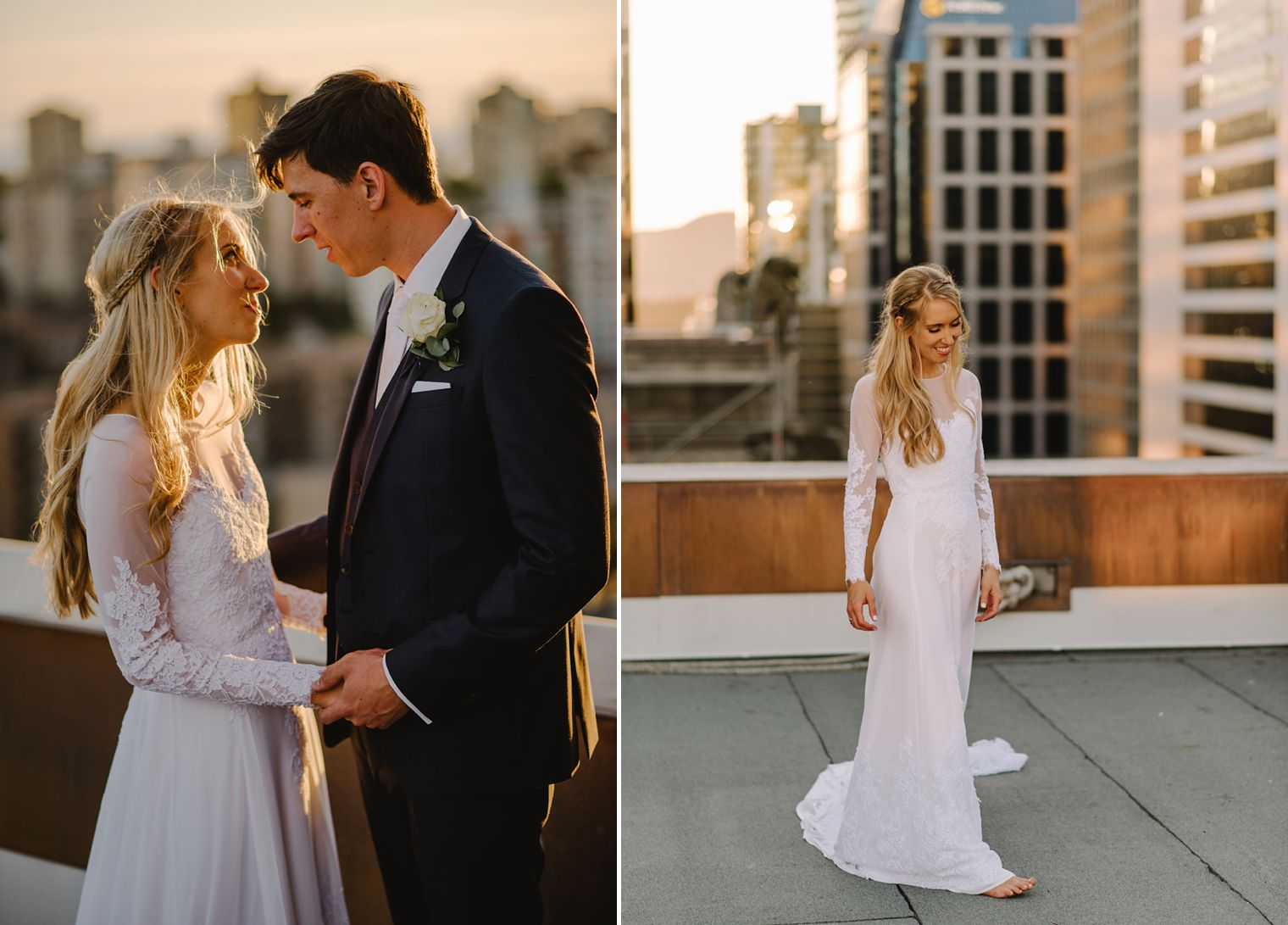 hotel vancouver rooftop wedding portait