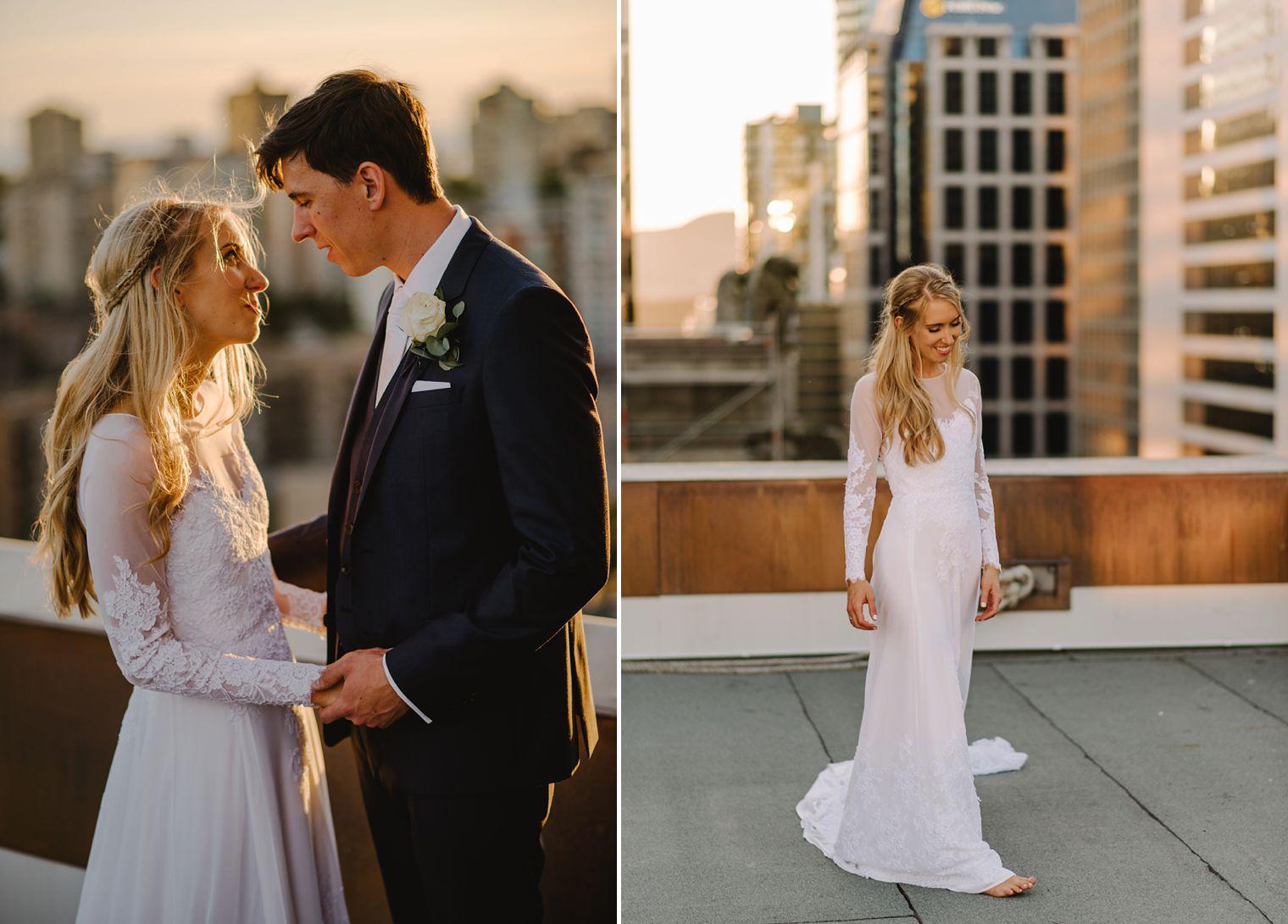 hotel vancouver rooftop wedding portait