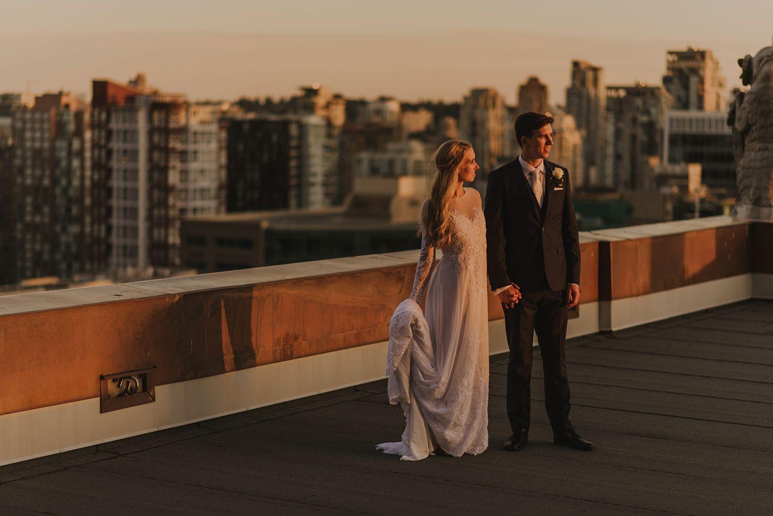 unique fairmont hotel vancouver wedding portrait