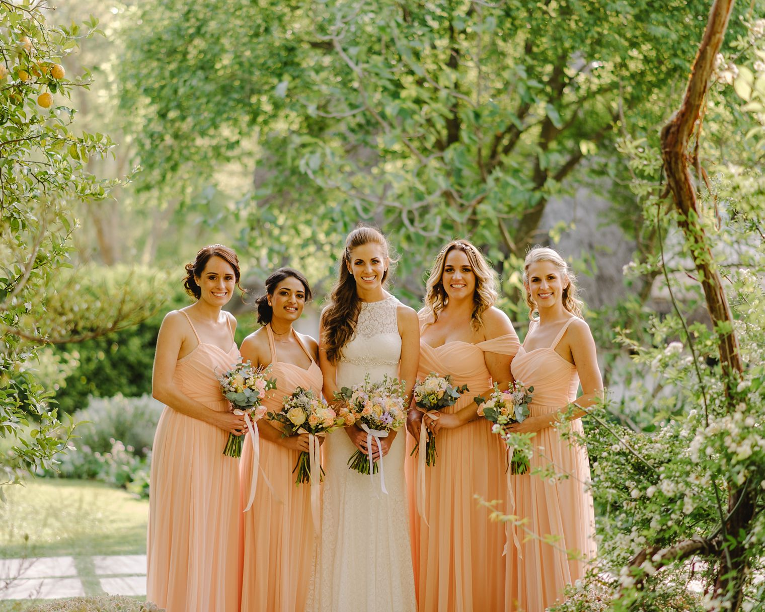 long peach bridesmaid dresses