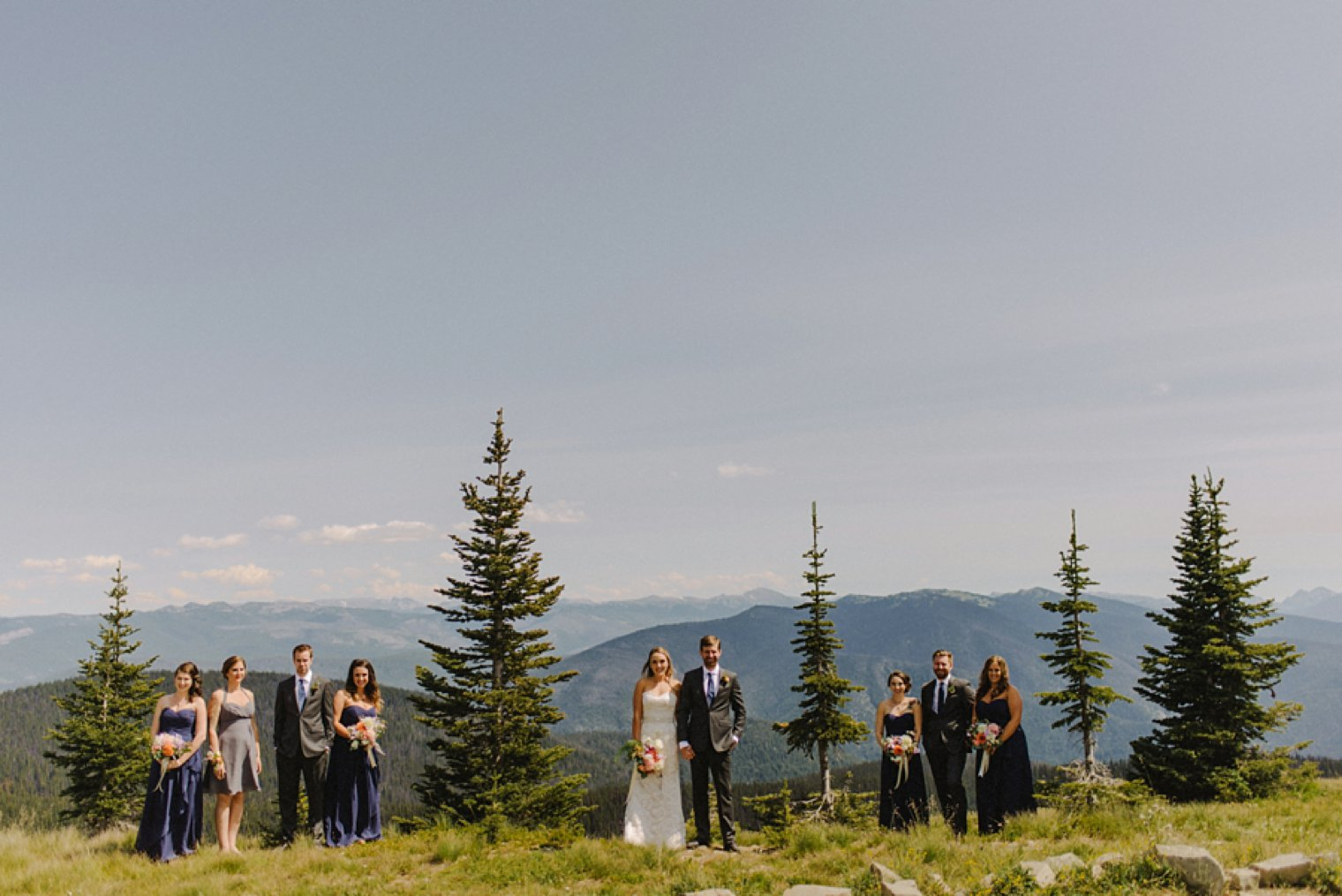 unique mountain wedding party photo