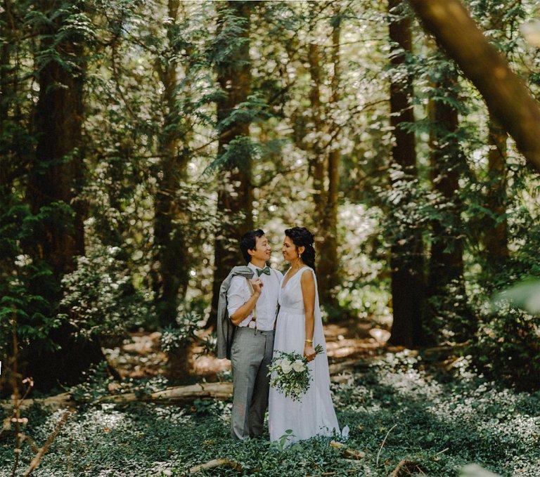 vancouver forest wedding portrait