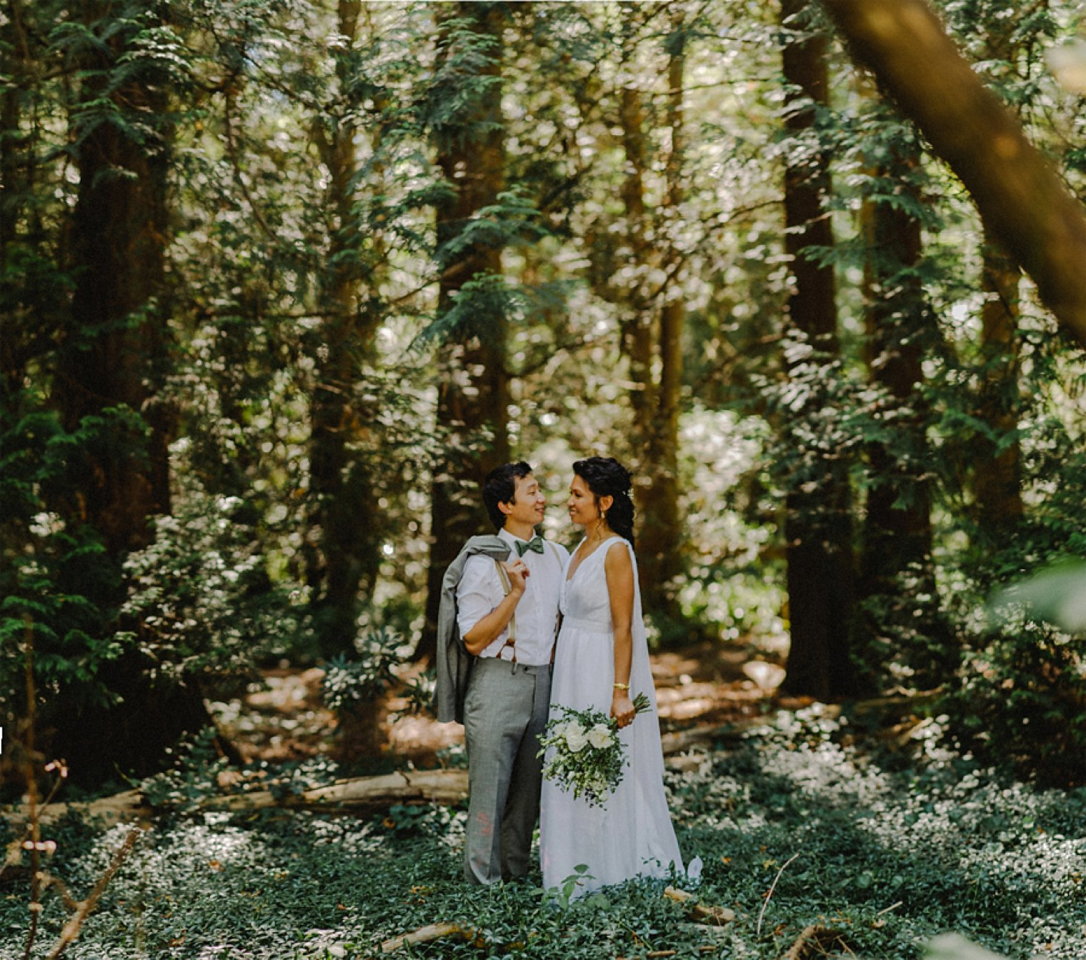 vancouver forest wedding portrait