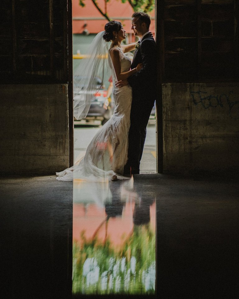 unique wedding portrait at granville island