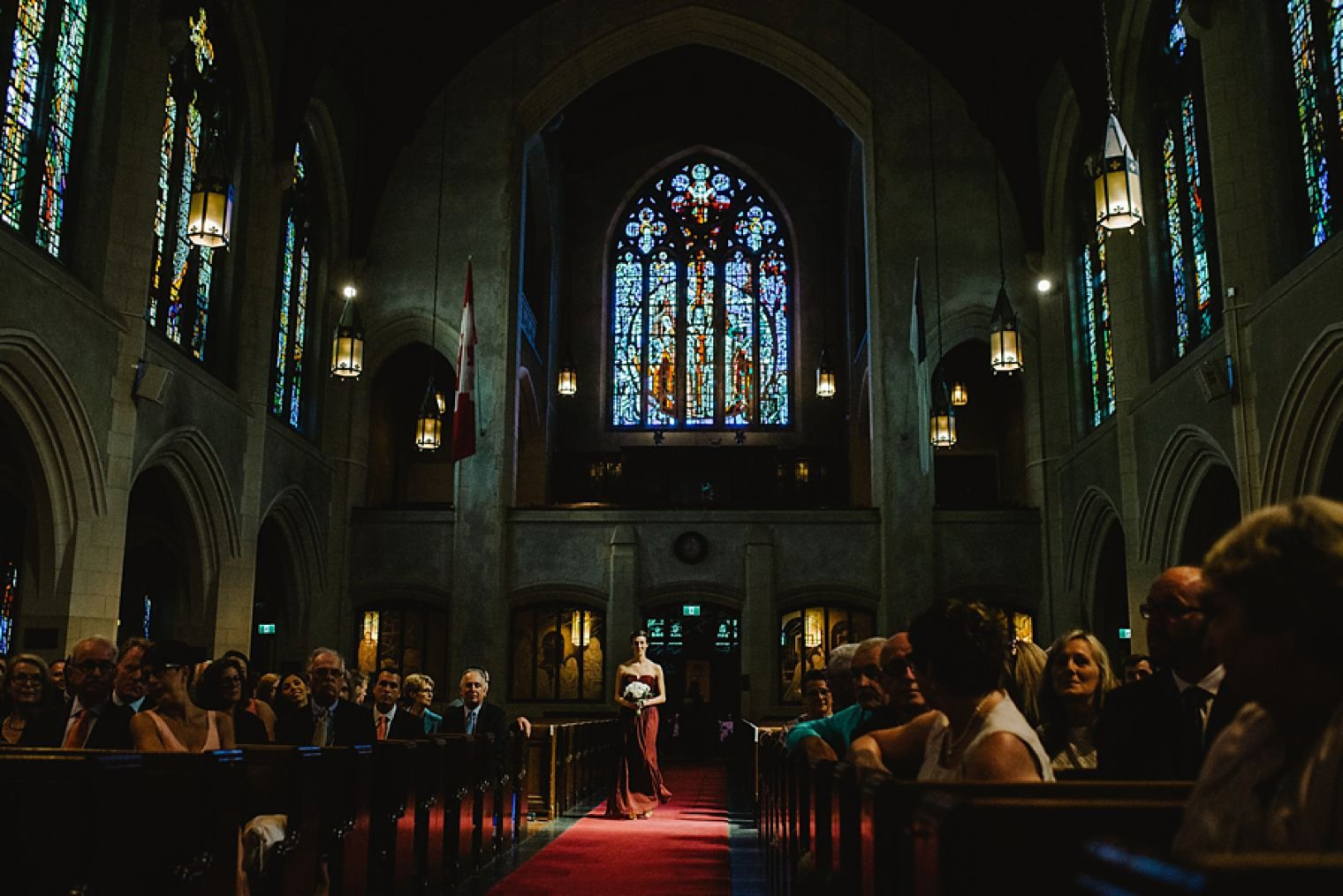 dramatic cathedral wedding photo