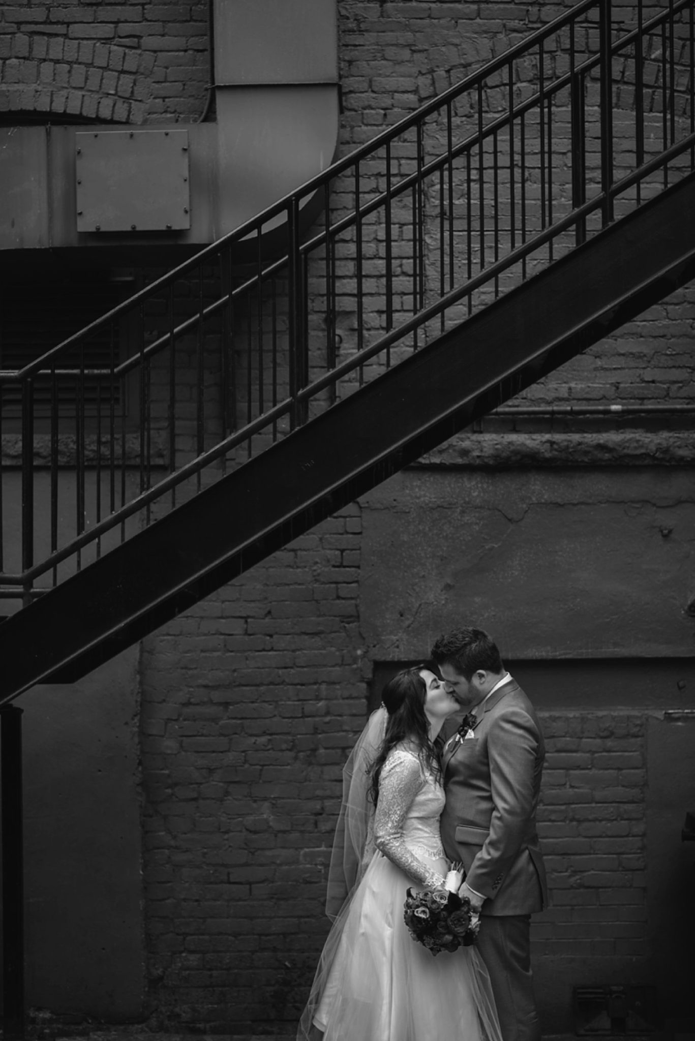vancouver alley wedding portrait