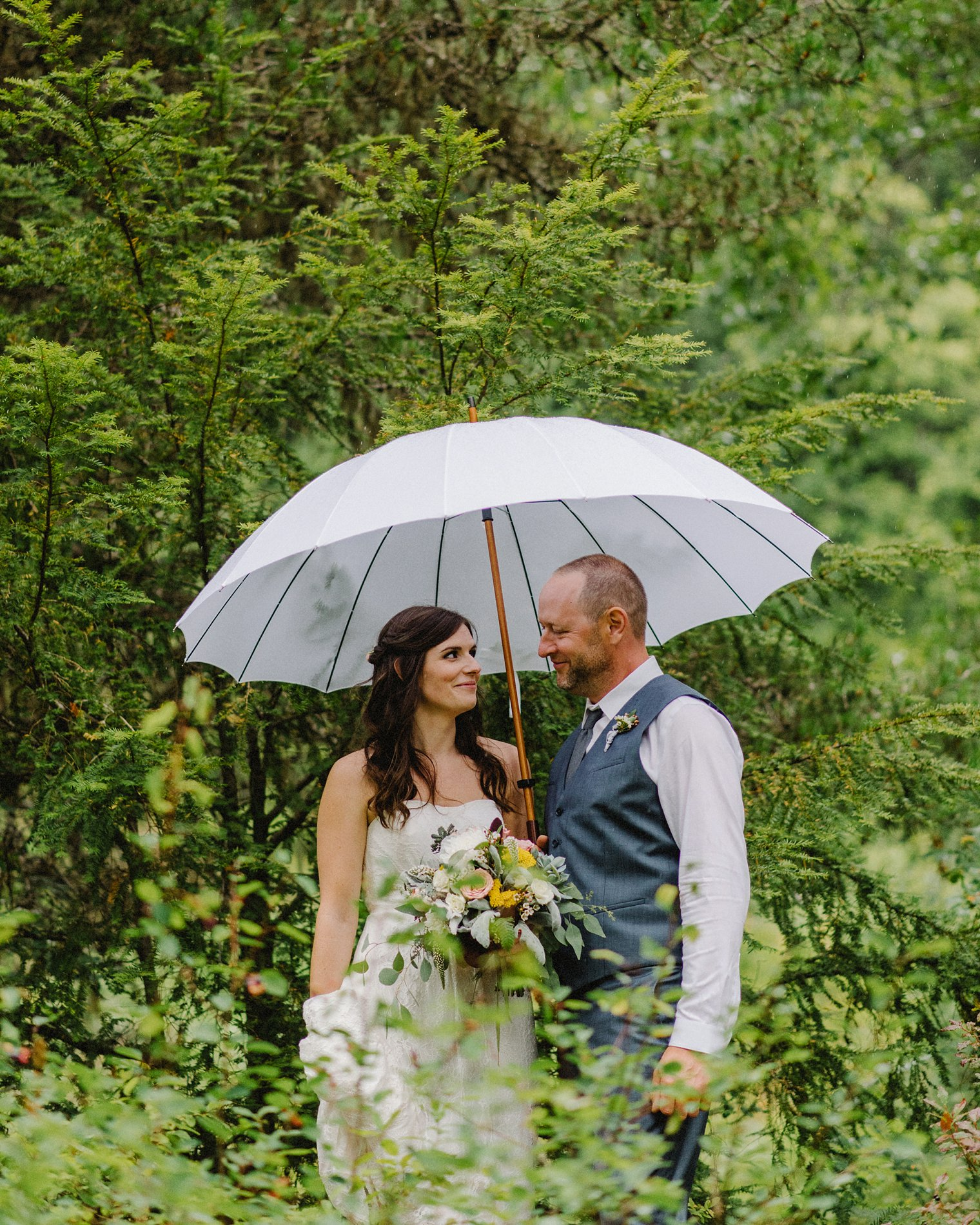 rainy whistler wedding portait