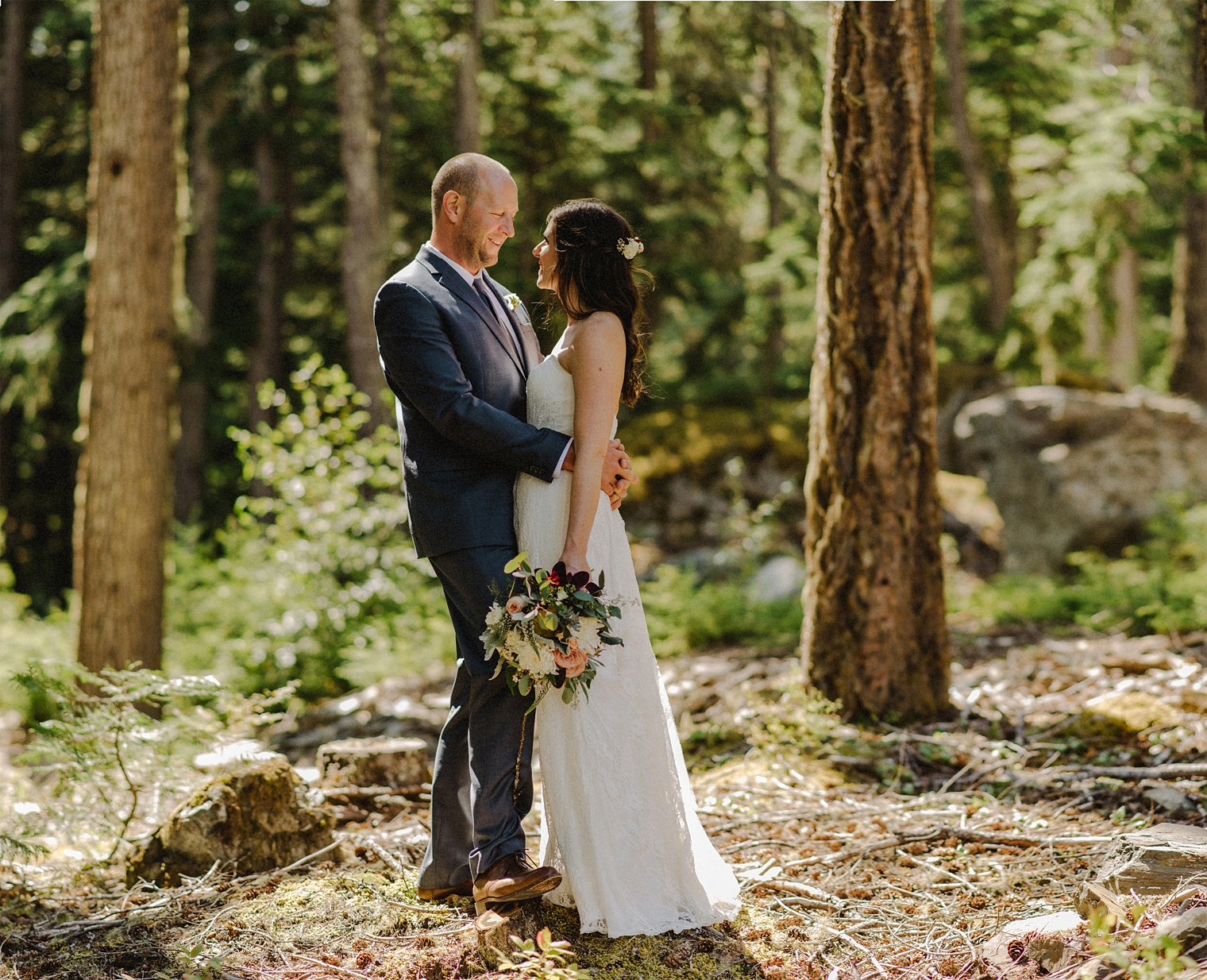 whistler wedding portrait in forest