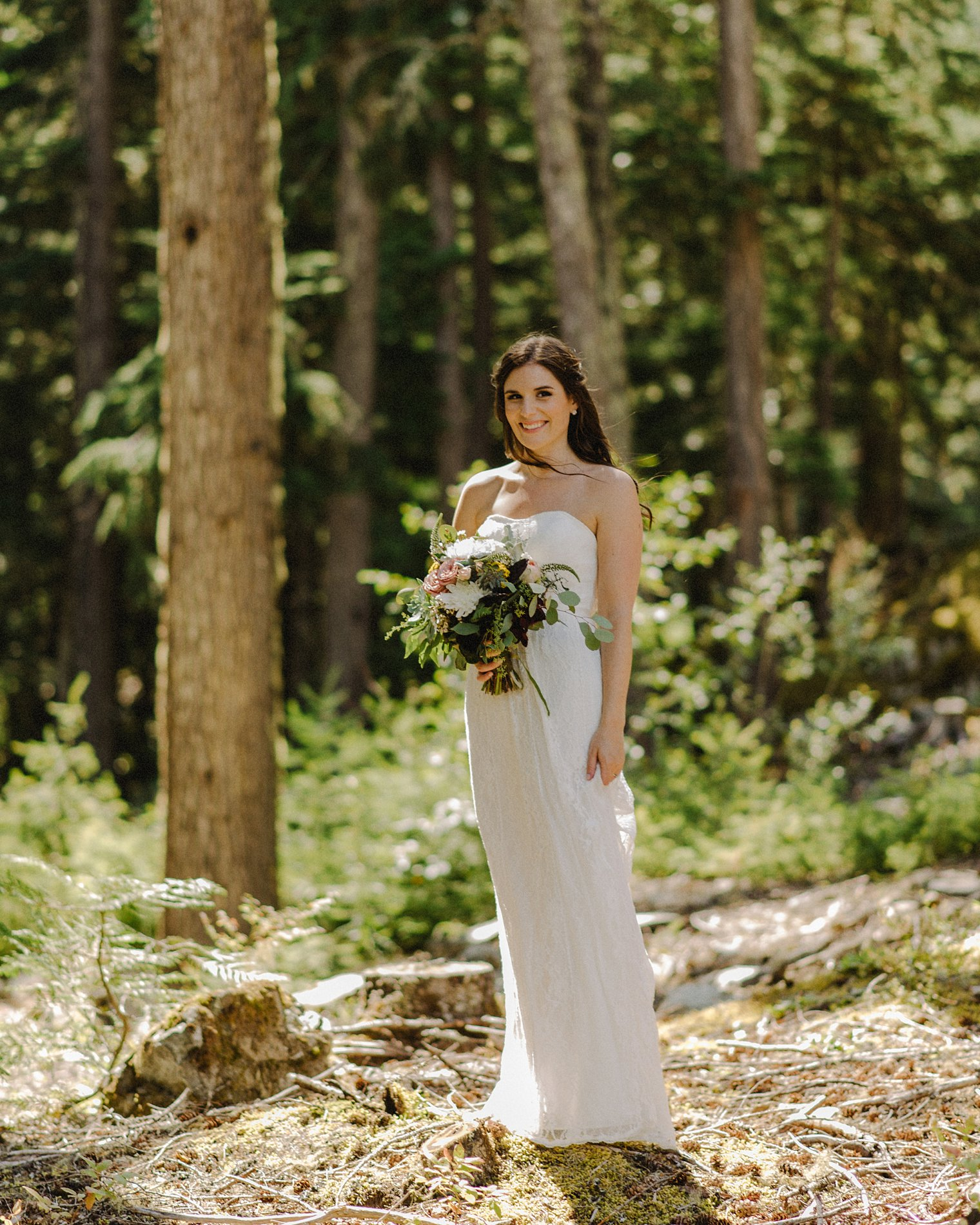 bride portrait in whistler forest
