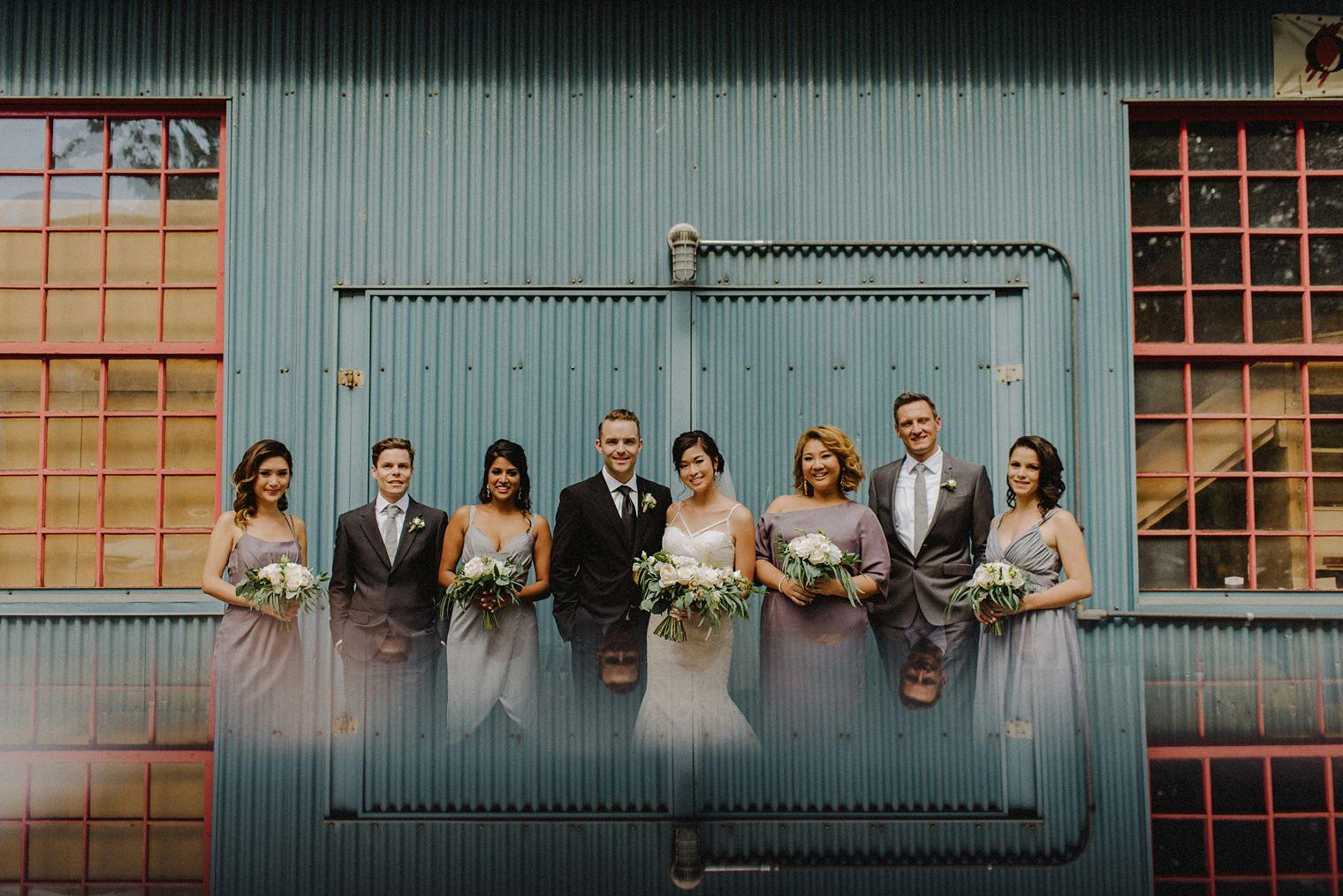 unique granville island wedding party portrait