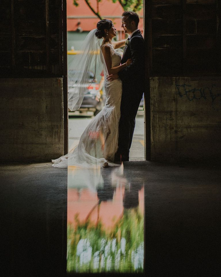 unique granville island wedding portrait