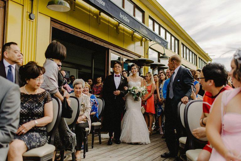 wedding ceremony at bridges restaurant in vancouver