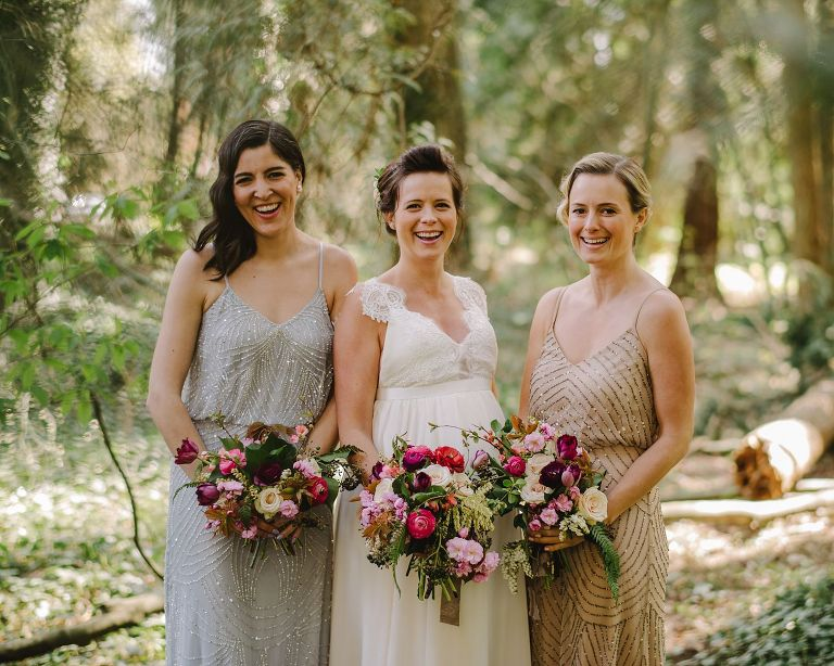 bridesmaids in a vancouver forest