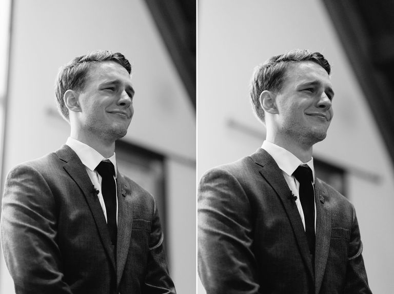 black and white emotional groom