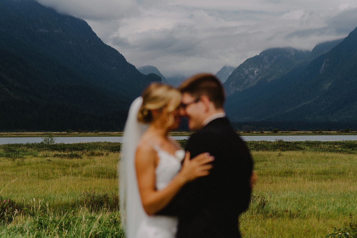 unique pitt lake wedding photo