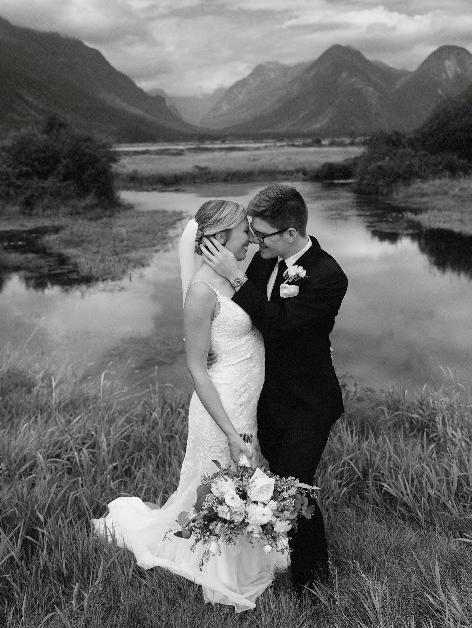 pitt lake wedding portrait