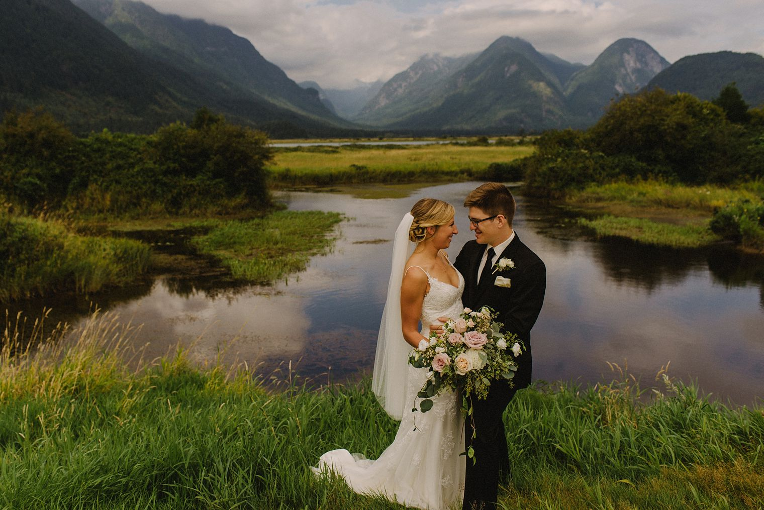 pitt lake bridal photo