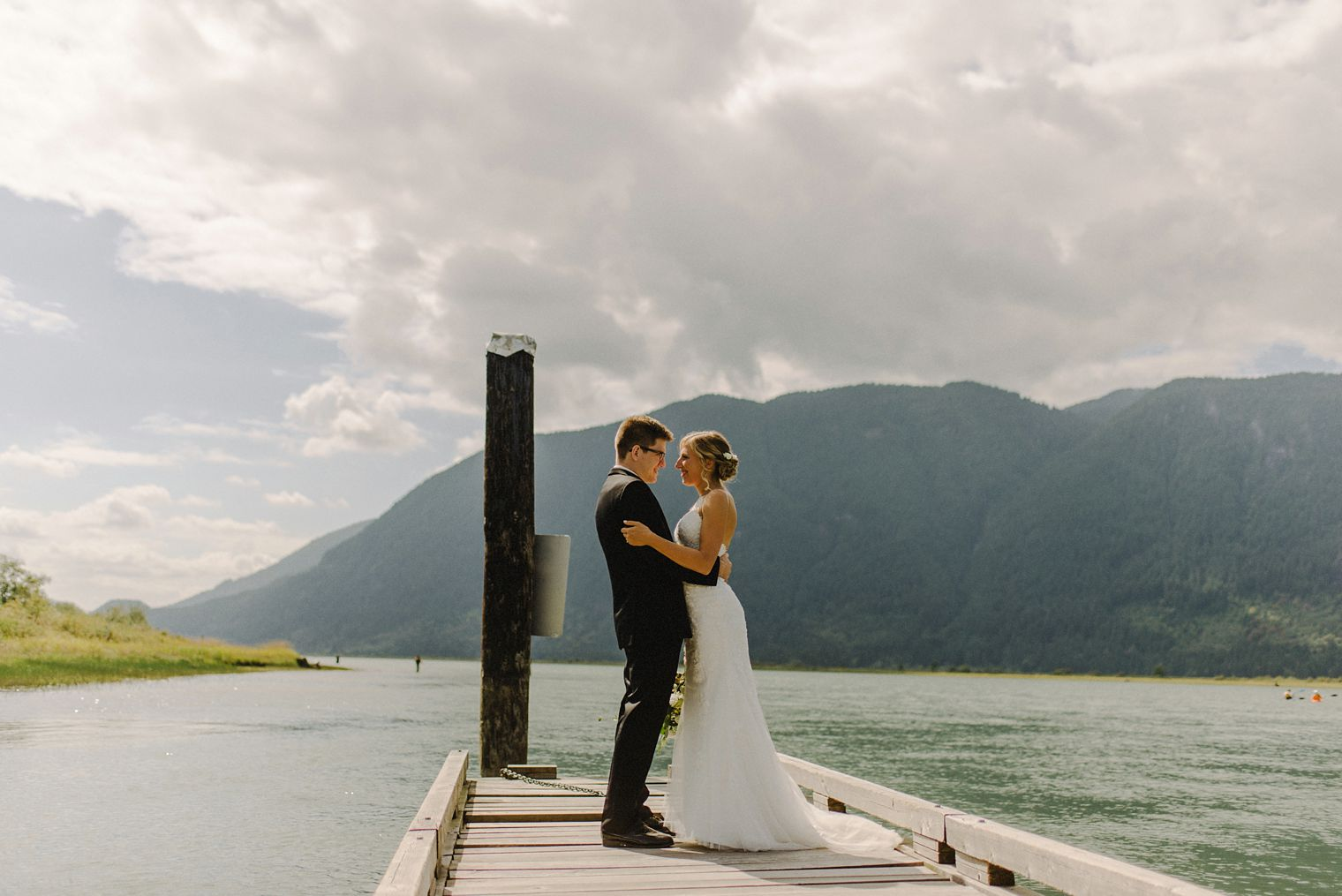 pitt lake dock wedding photo