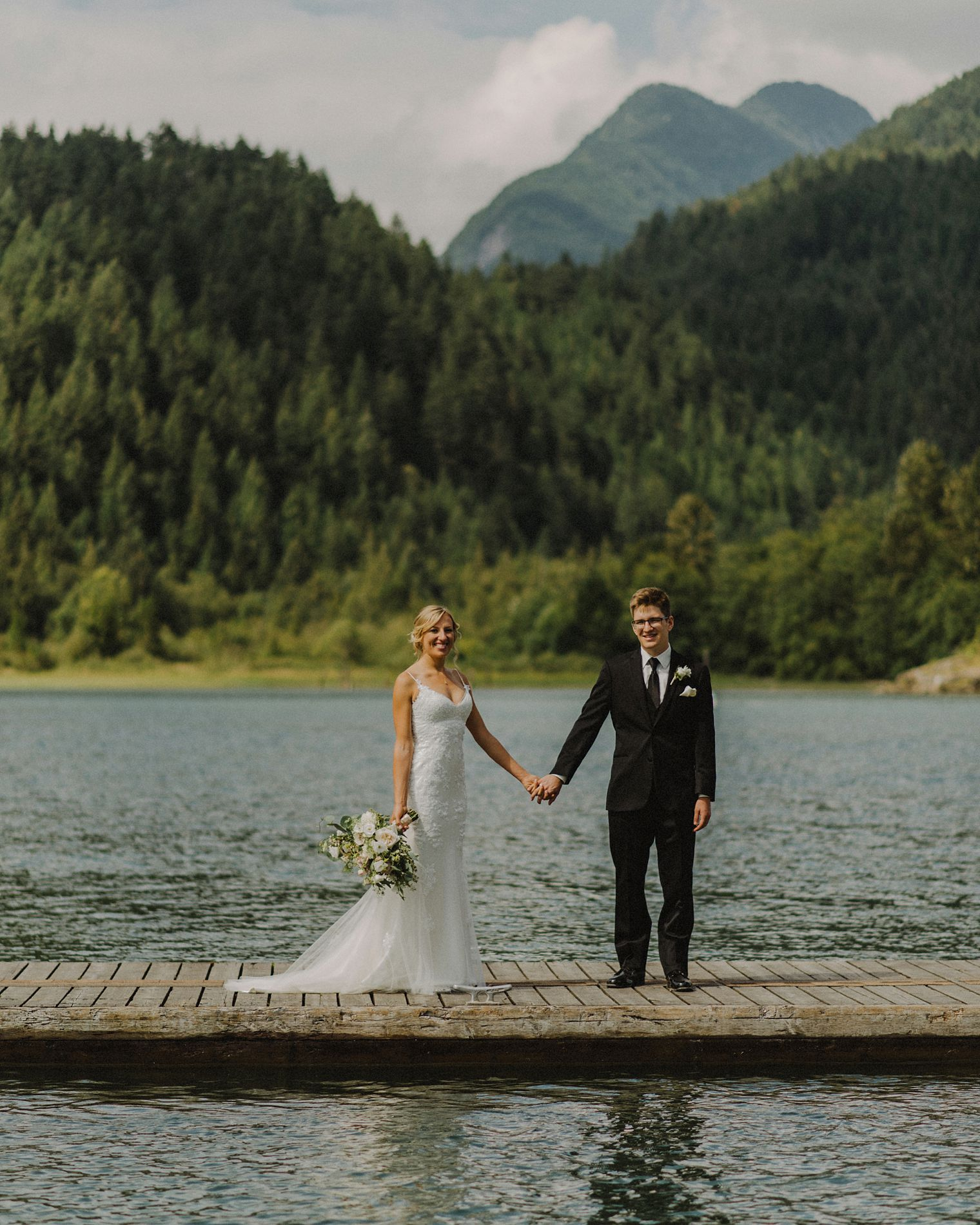 river dock wedding portrait