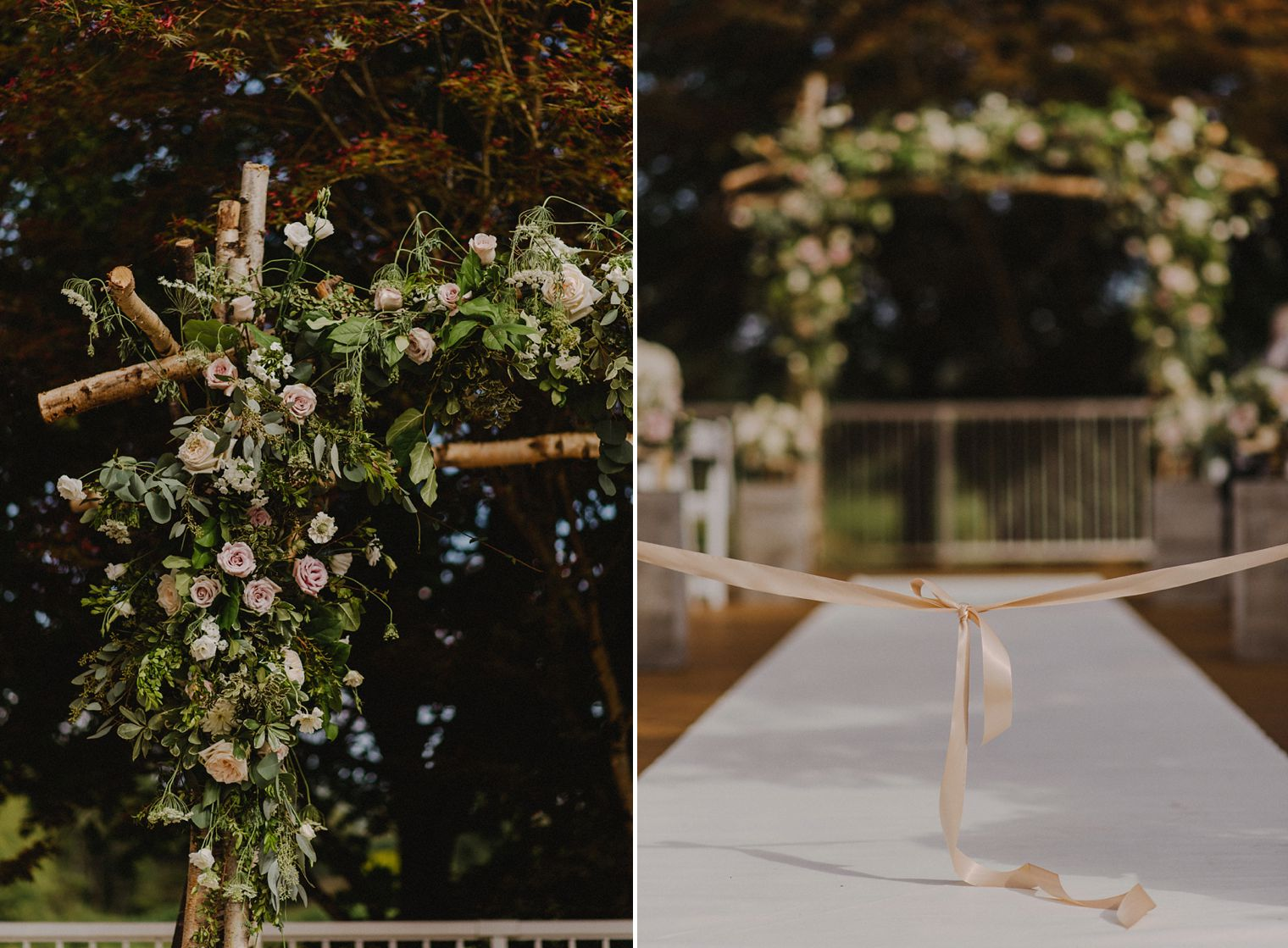 blush floral wedding arch